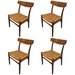 Set of Four Teak/Oak Dining Chairs with Rope Seats, Hans Wegner for Carl Hansen