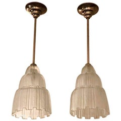 Pair of French Art Deco Waterfall Chandeliers Signed by Sabino