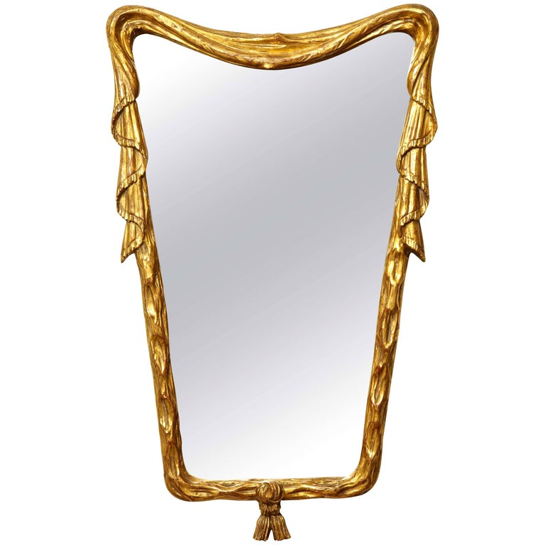 1940s Italian Giltwood Trompe L'Oeil Mirror