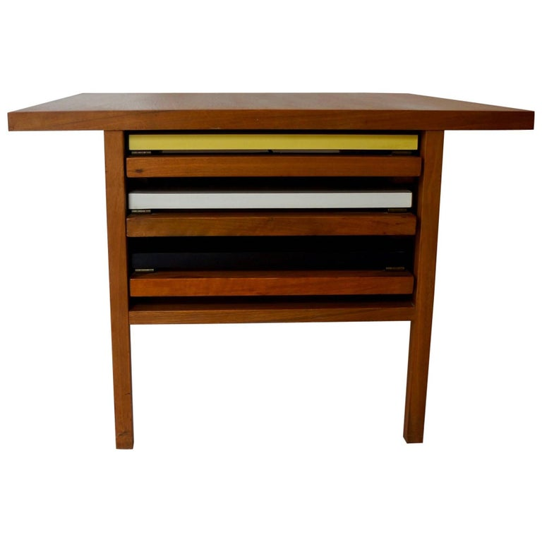 Mid Century John Keal Coffee Table with Three Internal Folding Side Tables
