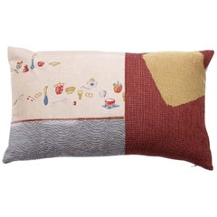 Vintage Printed Japanese Silk with Coral Beads Pillow