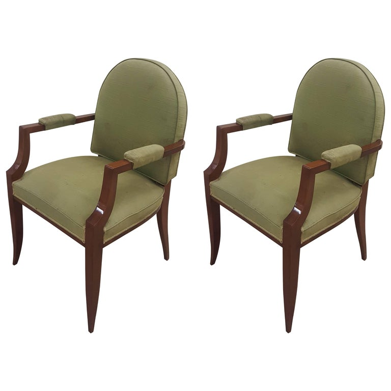 Pair of French 1940s Mahogany Armchairs For Sale