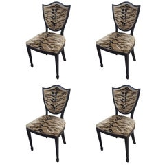 Set of Four Shield-Back Chairs Upholstered in Tiger Fabric