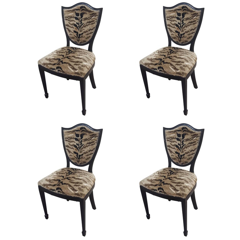 Set of Four Shield-Back Chairs Upholstered in Leopard Fabric
