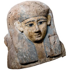 Upper Egyptian Sarcophagus Lid in Polychrome Wood, EU Passport & Documentation