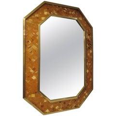 Octagonal Bone-Inlaid Mirror