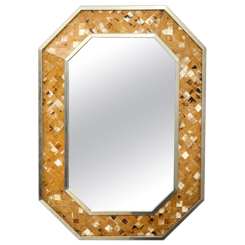 Octagonal Bone Inlaid Mirror