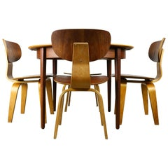 Cees Braakman for UMS pastoe Dining set 1952 SB02 , TT05 Beige brown yellow Teak