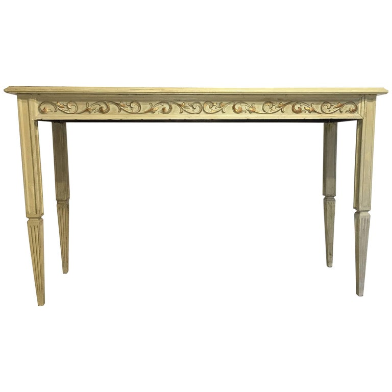 20th Century Painted Cream Beige Console Table with Ornamental Carved Relief