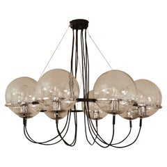 Large Dutch design Raak Amsterdam ''Saturnus'' Chandelier 1960 black silver