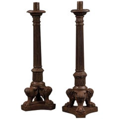 Pair of Late 19th Century Cast Iron Gas Lamps