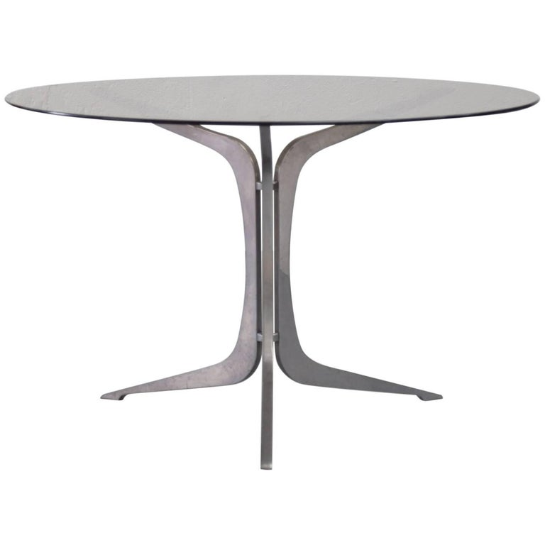 Modernist Dining Table 1960s Smoked Glass