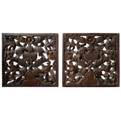 Two Rare 18th Century Carved Oak Panels with a Floral Scene