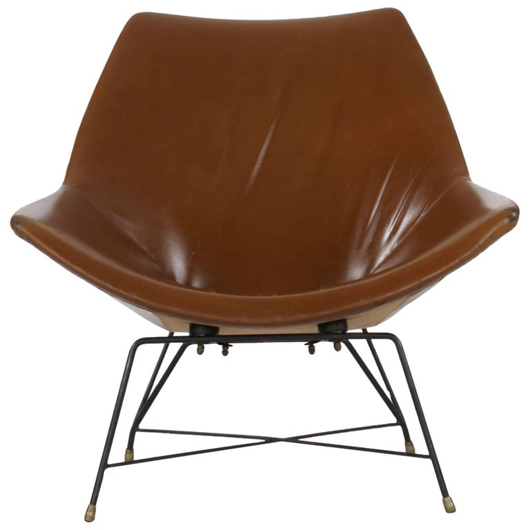 Italian Brown Leather Kosmos Chair Design by Augusto Bozzi for Saporiti, 1954 For Sale