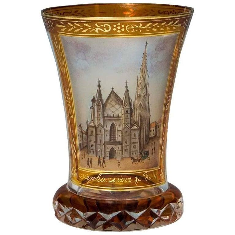 Bohemian Glass and Enamel Beaker after Anton Kothgasser