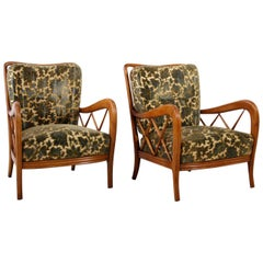 Paolo Buffa Italian Pair of Wooden Armchairs with floral patterned Fabric, 1940s