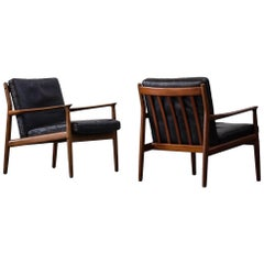 Pair of Grete Jalk Leather Armchairs for Glostrup