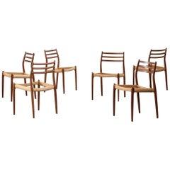 Set of Six Danish Chairs Niels O. Moller Model 78