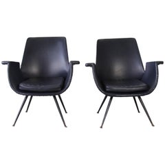 Gastone Rinaldi for RIMA Pair of black Armchairs, 1950s