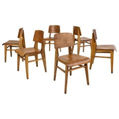 "Set of Six Jean Prouvé ""Chaise En Bois"" Wooden Standard Chairs, circa 1940"