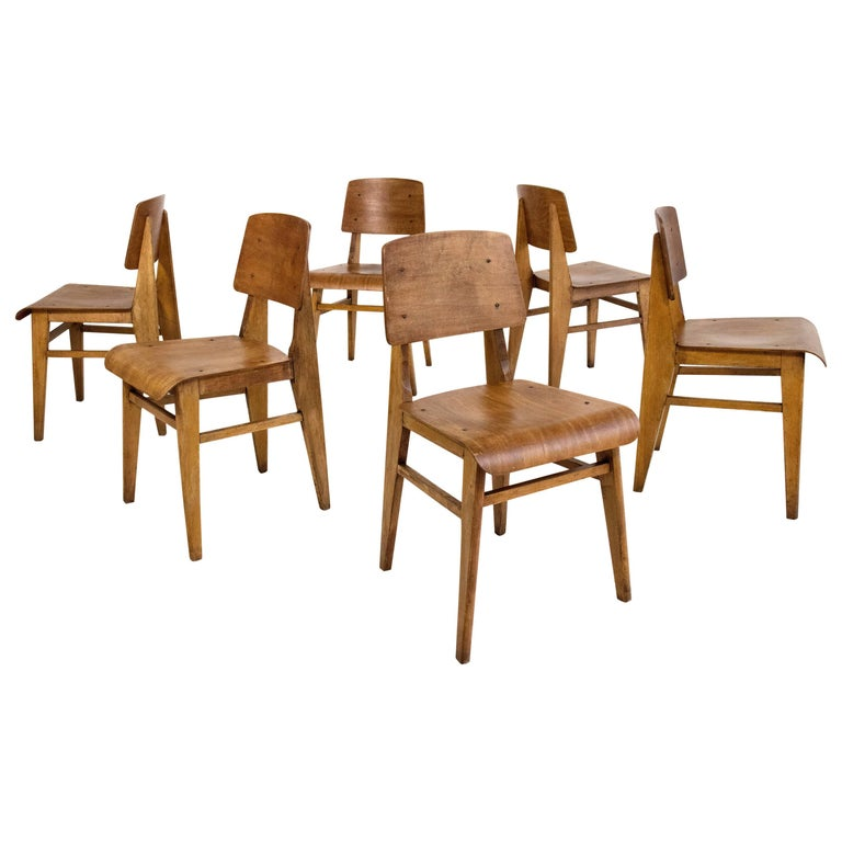 set of six jean prouv chaise en bois wooden standard chairs circa 1940 for sale at 1stdibs. Black Bedroom Furniture Sets. Home Design Ideas