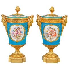 Pair of French Gilt Bronze Mounted Sevres Style Porcelain Vases