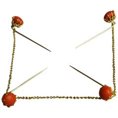 Antique Indonesian Gold and Coral Kerosang Kebaya Pin