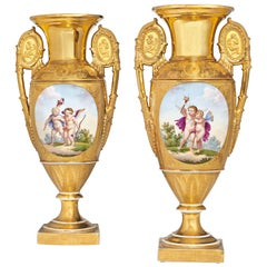 Pair of Empire Period Antique Parisian Porcelain Vases