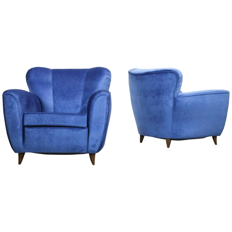 Pair of Armchairs in the Style of Gio Ponti, 1960s For Sale