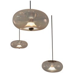 "Set of Three Carlo Nason for Leucos ""Medusa"" Opaline Murano Glass Pendant Lights"