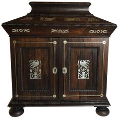Regency Mother-of-Pearl Inlaid Cabinet, Fitted Drawers, circa 1820