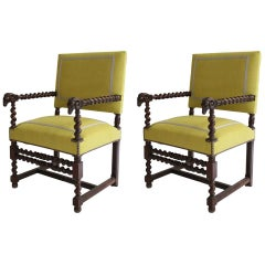 Pair of Chairs in the Style of Louis XIV Re-Upholstered in Zoffany Linen