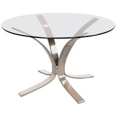 Sculptural Coffee Cocktail Table in Metal and Glass 1960s Mid-Century Modern