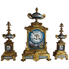 19th Century French Sèvres and Ormolu Garniture Clock Set