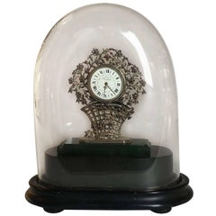 Silver and Precious Stone Miniature Table Clock by Dreyfous, 1880