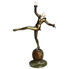 Early 20th Century Art Deco Bronze Sculpture on Onyx by Leon Salat