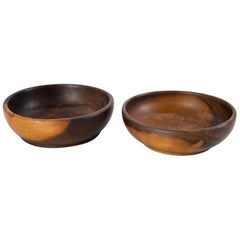 1960s Danish Hand Moulded Sculptural Set of Two Bowls in Two Colors