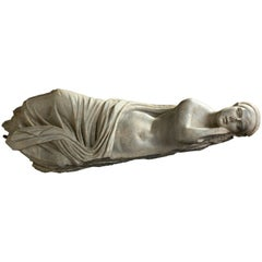Beautiful Greek Grey Marble Statue of Sleeping Ariadne, Second Century BC