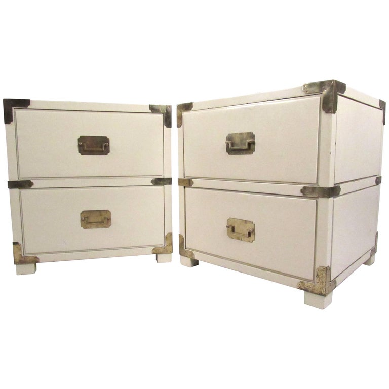 Pair of Campaign Style Two-Drawer Nightstands