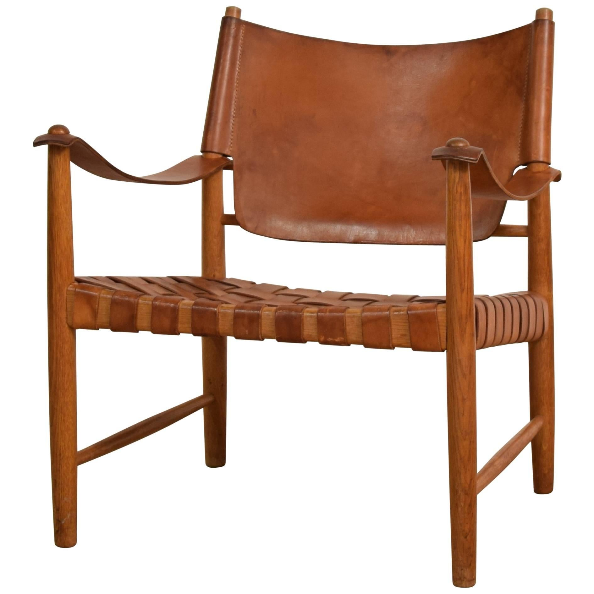 Danish Midcentury Leather Safari Chair For Sale