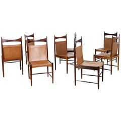 "Set of Eight High Backed Chairs ""Cantu"" by Sergio Rodrigues"