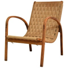 1920s Italian Armchair in Beech and Cane