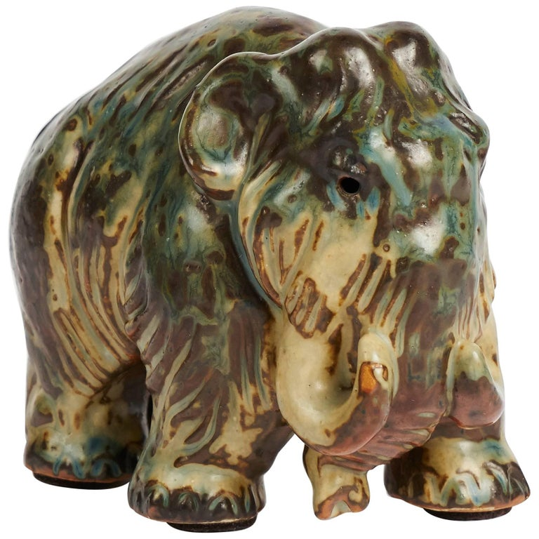 Knud Khyn for Royal Copenhagen, Small Ceramic Mammoth, Denmark, circa 1920s