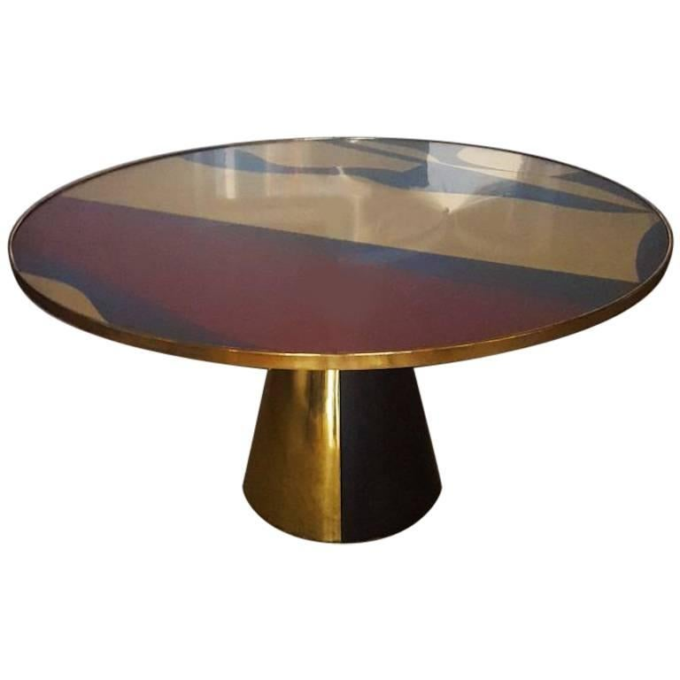 Round Table Abstract Design Top And Pyramidal Base By