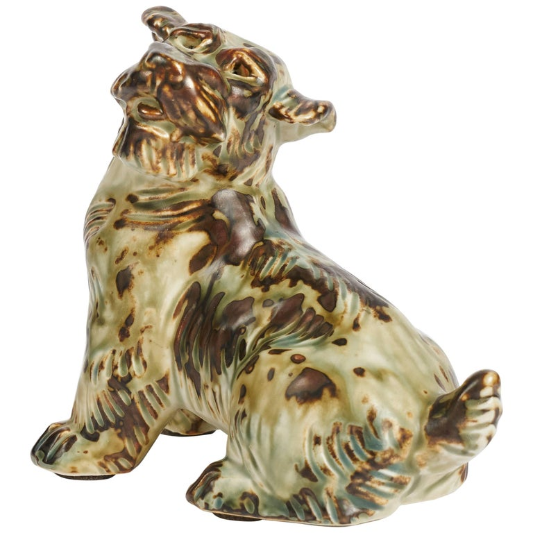 Knud Khyn for Royal Copenhagen, Ceramic Terrier, Denmark, circa 1950s For Sale