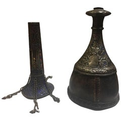 19th Century, a Qajar Silver Enamel Hookah with a Leather Base