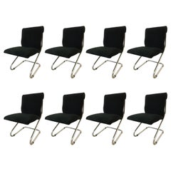 Set of Eight Midcentury Pace Chrome Cantilever Chairs
