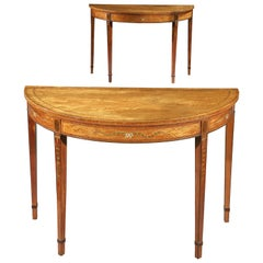 Pair of George III Satinwood Demilune Side Tables