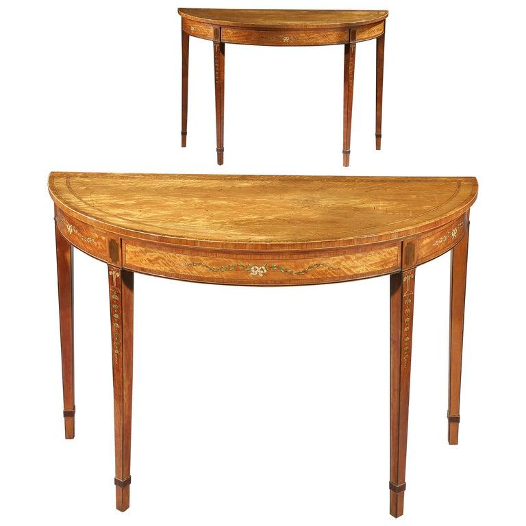 Pair of George III Satinwood Demilune Side Tables
