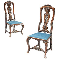Pair of George I High Backed Walnut Side Chairs
